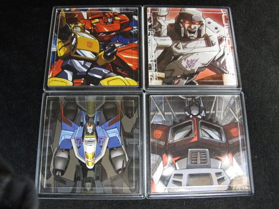 Transformers Repurposed Comic Coaster Set by EpicButtons on Etsy, $20.00