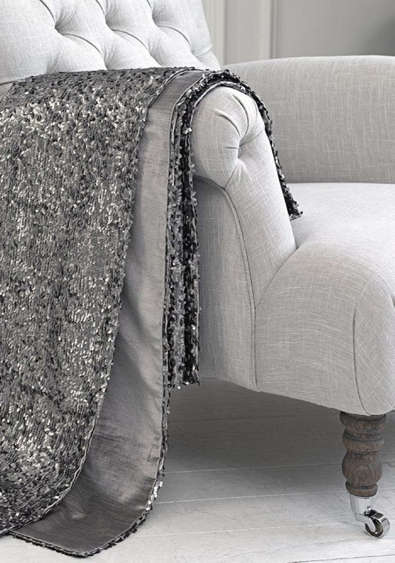 Luxury Silver Gray Sequin Throw Blanket by SPARKLEmeGORGEOUS My Gorgeous Silver Sequin Throw Blanket