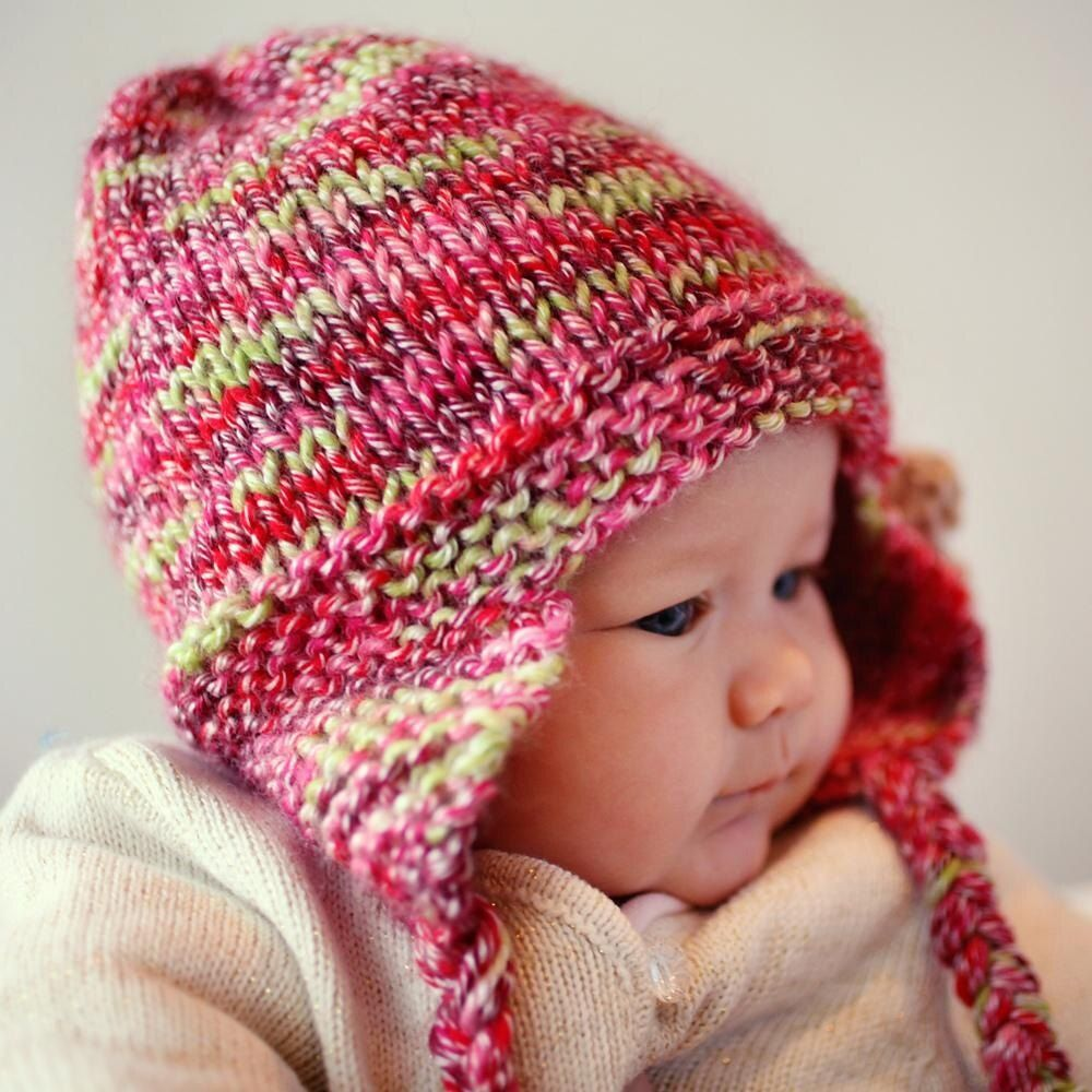 Baby Toddler Handmade Crochet Earflap Pom Pom Hat New Pink Stripe or Solid