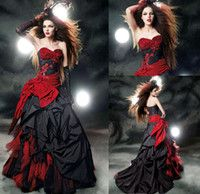 Black wedding dress red sash