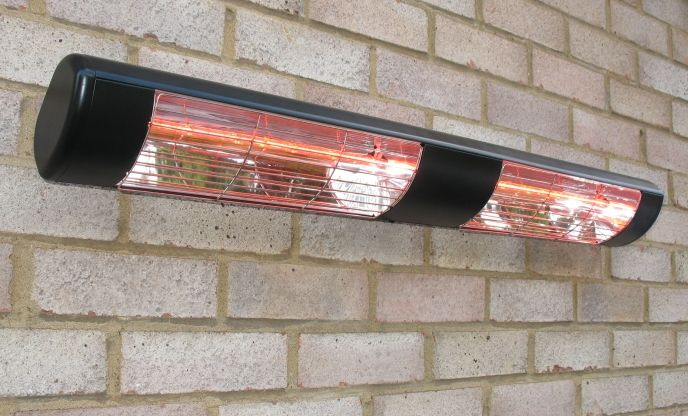 3kW Black Dual Wall Mounted Quartz Halogen Bulb Electric Infrared Patio  Heater   Weatherproof IP55 £185.99