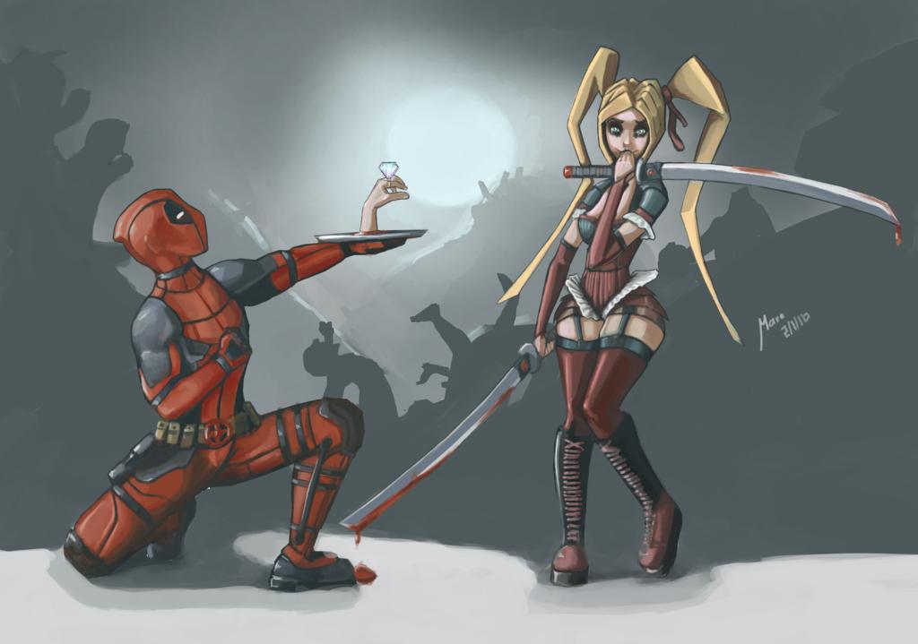 Deadpool fan art harley quinn loves deadpool by marts art the 3 st r ward of aw - Deadpool harley quinn notebook ...
