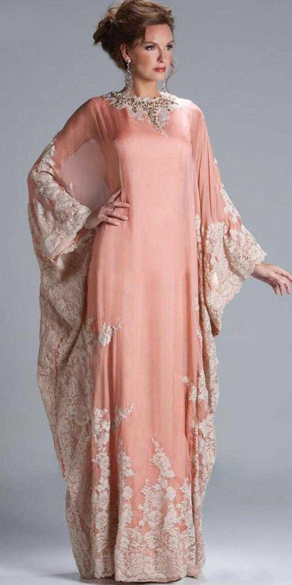 Elegant Dubai Chiffon Jewel Neckline Sheath Kaftan Evening Dresses