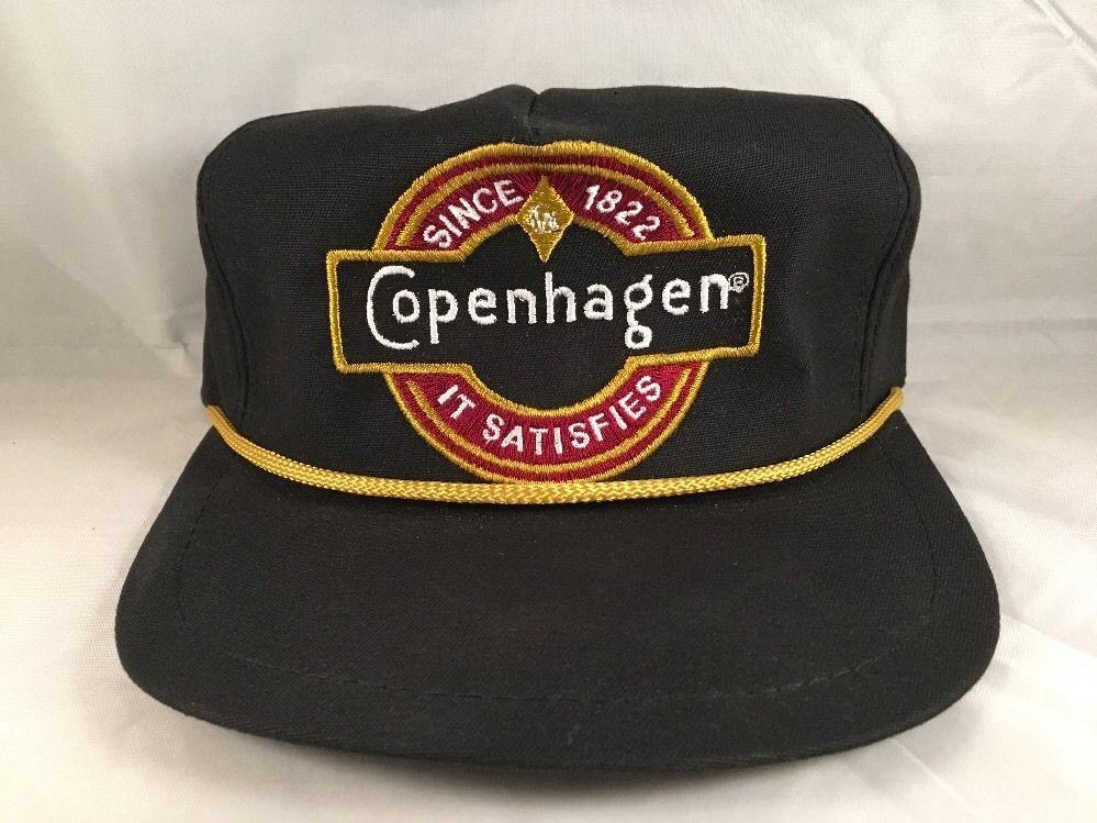 the best attitude e7a3a 42a06 Vintage COPENHAGEN Snuff Hat Adjustable Leather Strap Advertising Chew Gold  Rope  Copenhagen