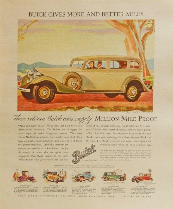 1933 Buick Car 30 s print art full color Beautiful Illustration by ...