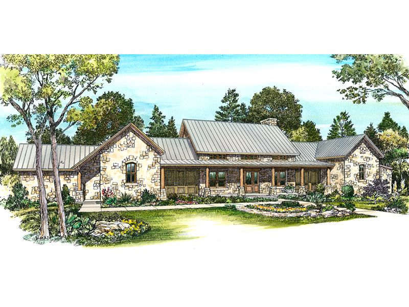 Dickson Rustic Country Home Ranch Style House Plans Country House Plans Hill Country Homes
