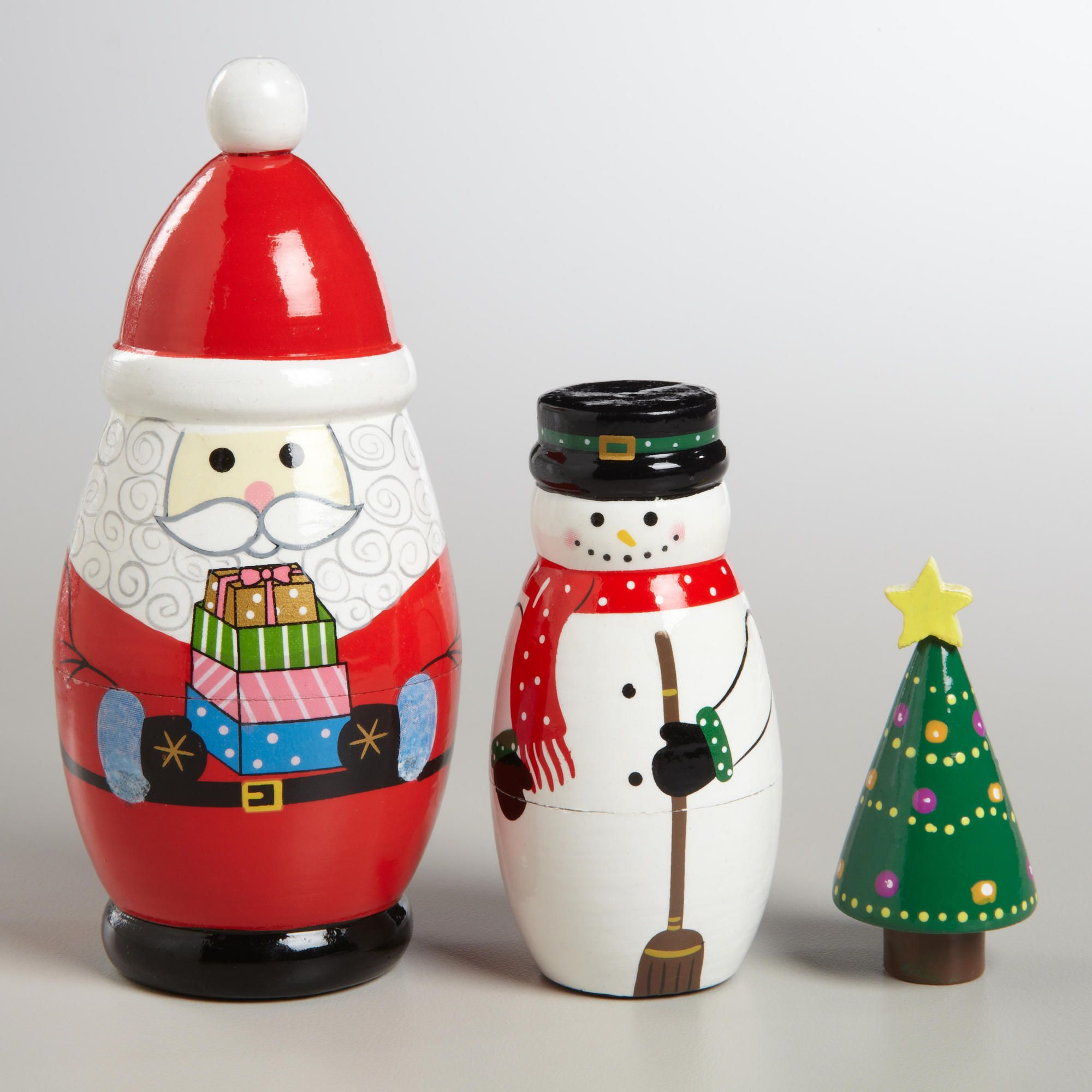3 pcs Russian Nesting doll Christmas Tree 6.3 Wooden image