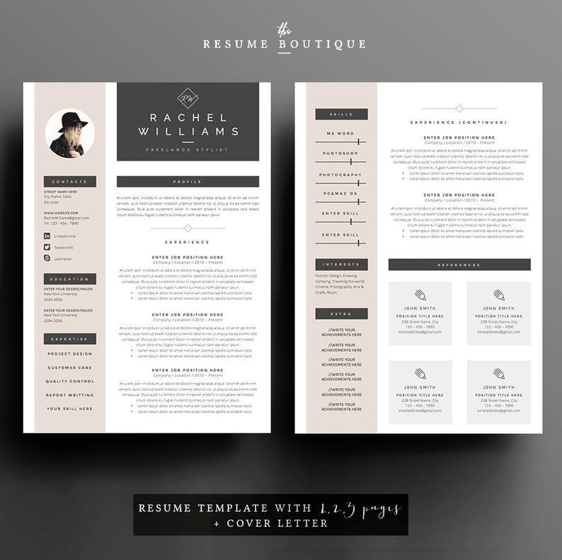 4 Paginas Reanudar Plantilla Cv Carta De Presentacion Para Etsy In 2020 Cover Letter Resume Design Cv Template