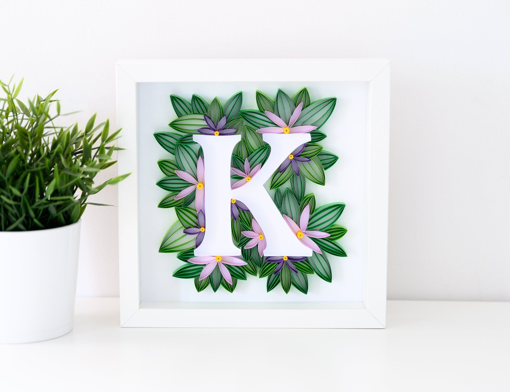 Quilling Letter K Floral Monogram Wall Art Framed Paper Art Personalized Gifts Modern Home Decor Kid Quilling Letters Paper Quilling Patterns Monogram Wall Art