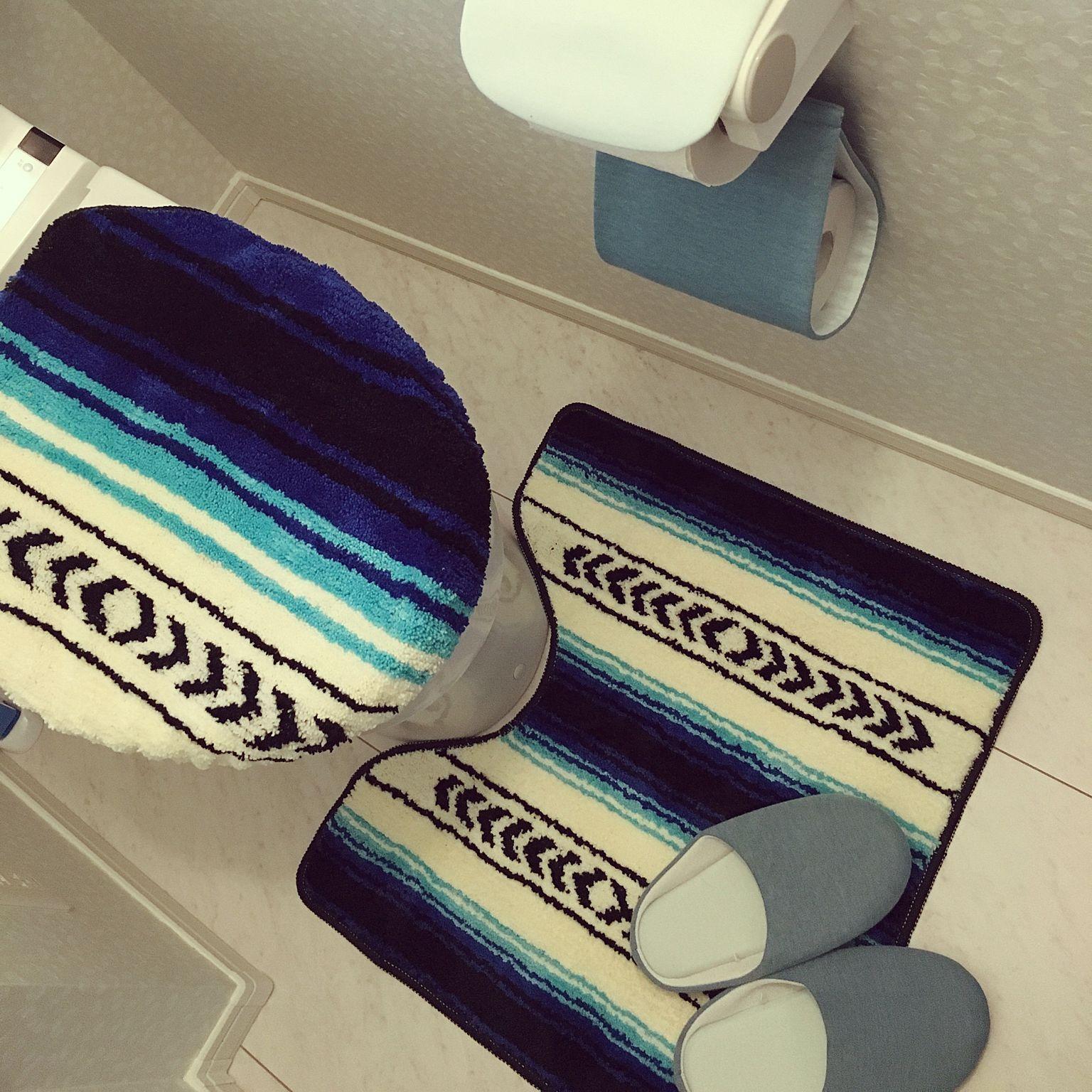 バス トイレ しまドルトン しまどるとん しまむらのトイレマット しまむら などのインテリア実例 2016 04 12 13 22 54 Roomclip ルームクリップ トイレマット インテリア 実例 インテリア