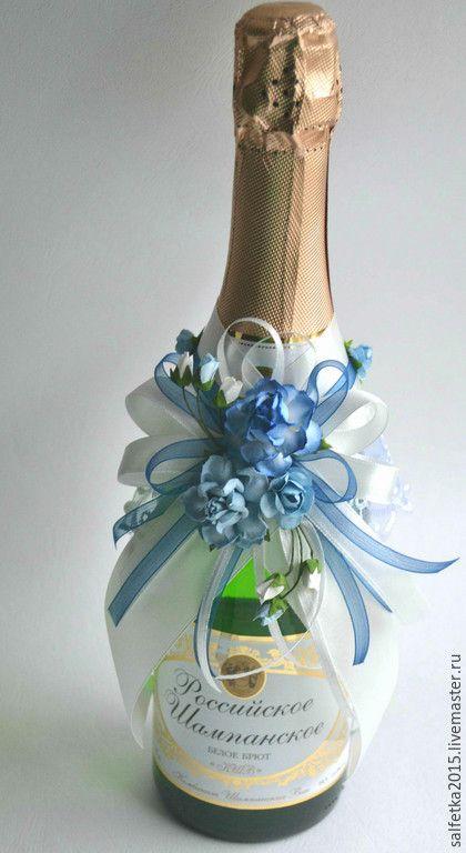 Купить Украшение на шампанское синие розы - синий, украшение на шампанское, украшение на бутылку, шампанское на свадьбу