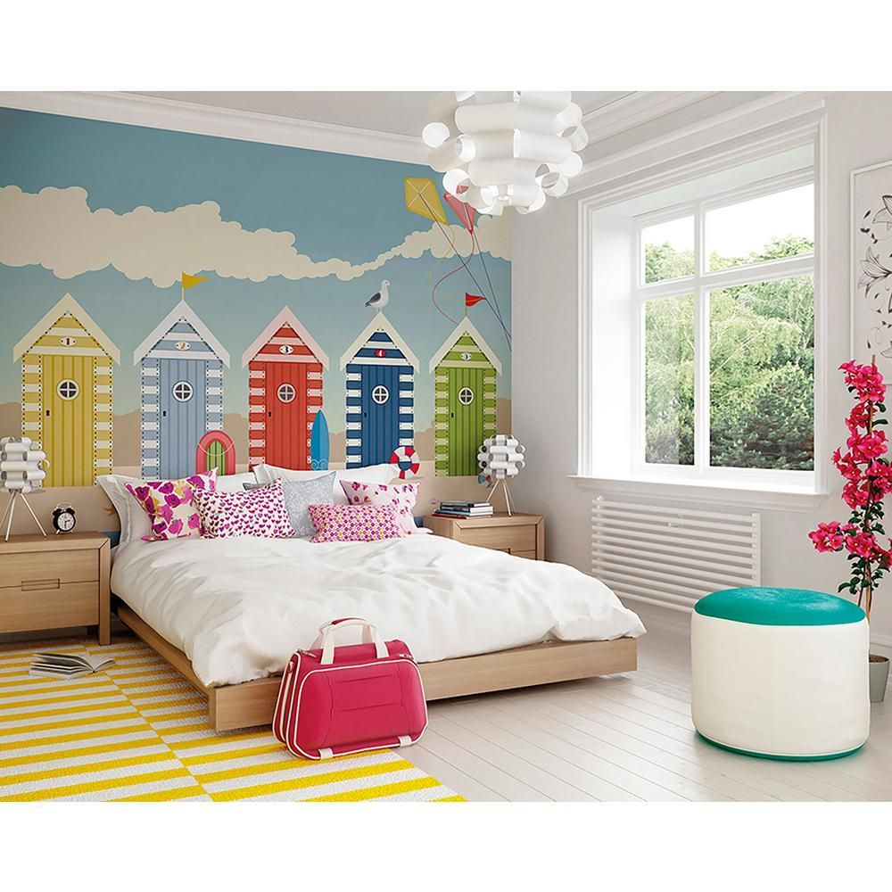 OhPopsi Beach Huts Wall Mural WALS0272 (With images
