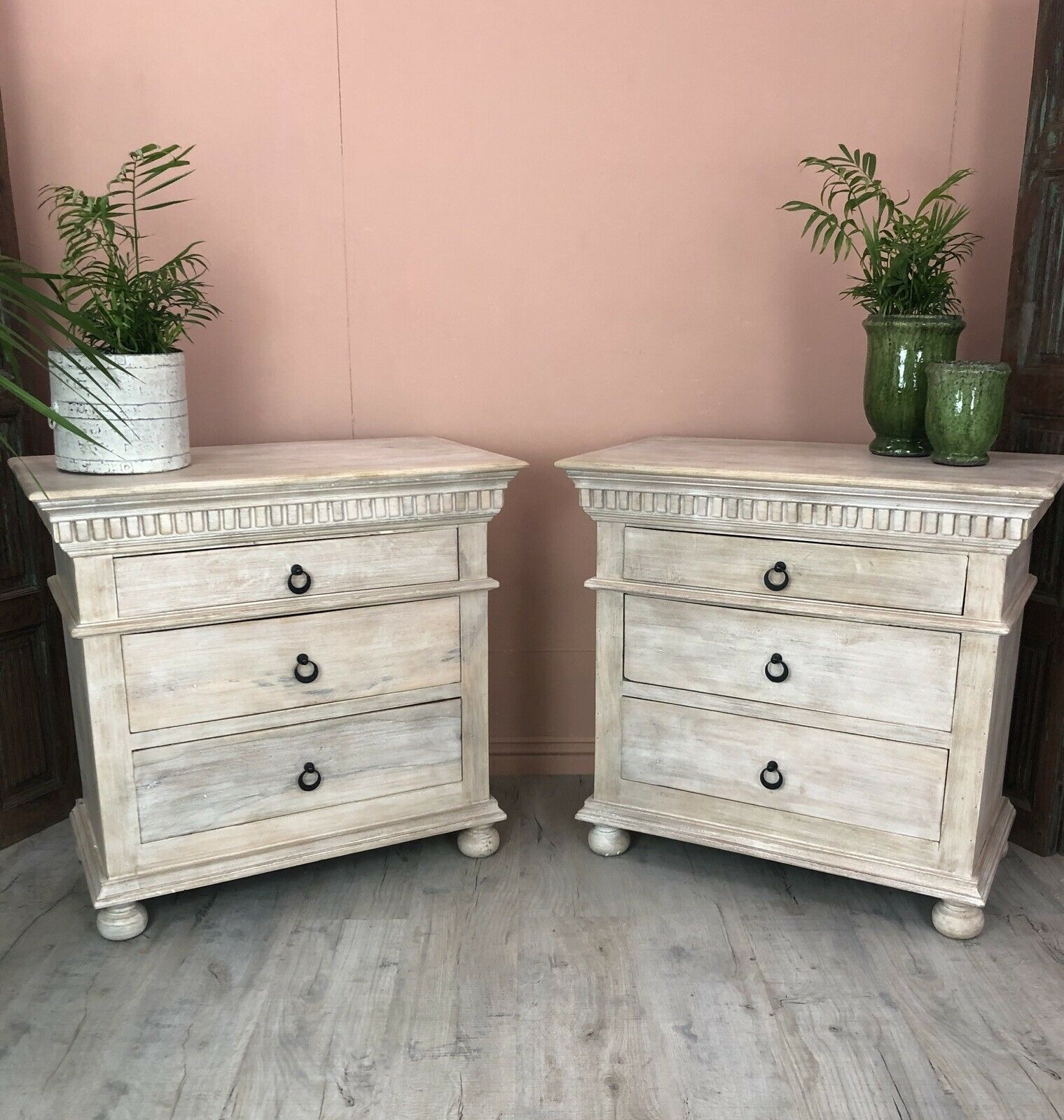 Carved Pair Of Large Bedside Tables Made From Mango Wood Small