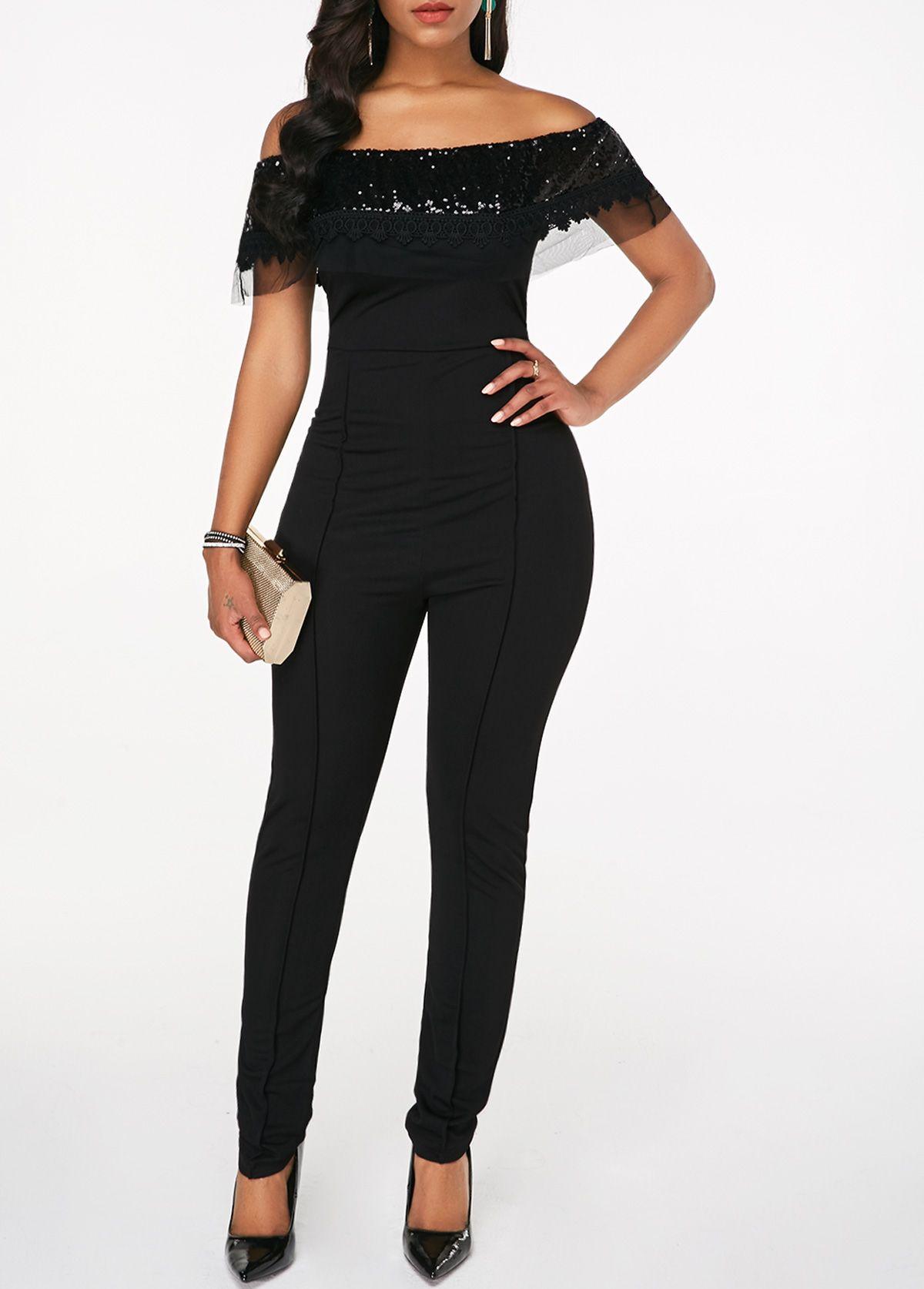 981f989aea8 Sequin Embellished Off the Shoulder Black Jumpsuit