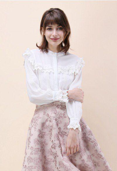 Exhilarant Sweetness Chiffon Shirt in White