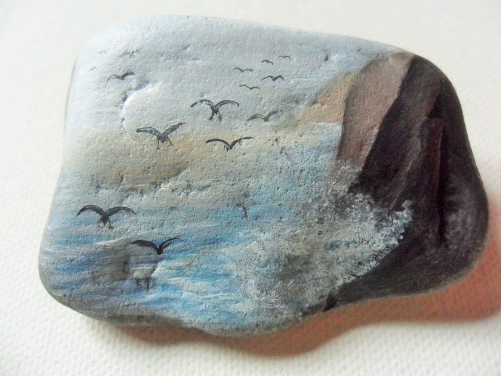 Sea gulls in the storm - Hand painted beach stone paperweight