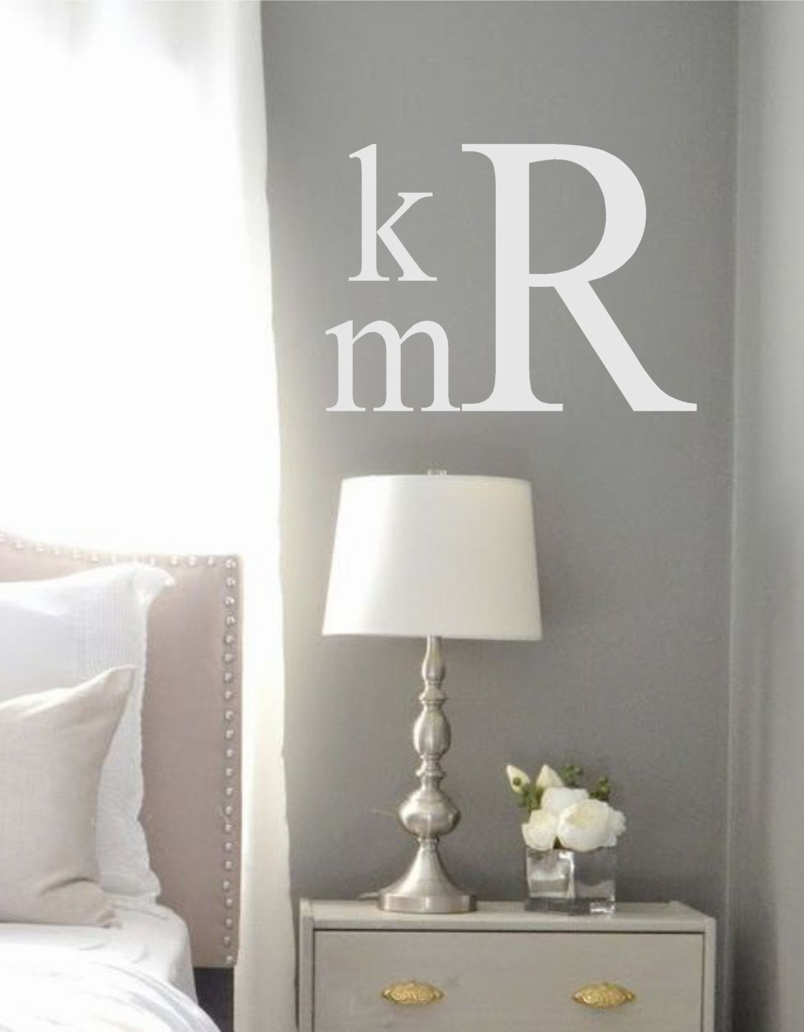 Master bedroom yellow walls  Monogram Wall Decal Traditional Style Initials Vinyl Wall Decal