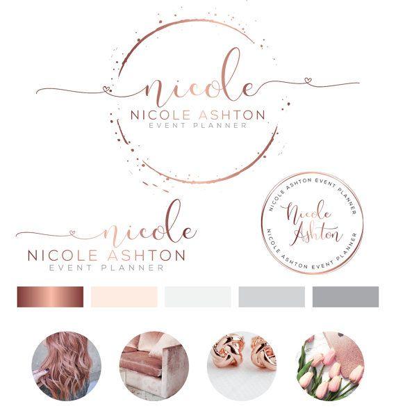 Wedding Branding Ideas: Heart Logo Design, Custom Logo Design, Rose Gold Branding