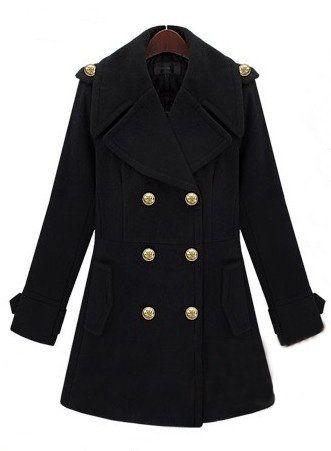 Black Lapel Long Sleeve Double Breasted Tweed Coat - Sheinside.com
