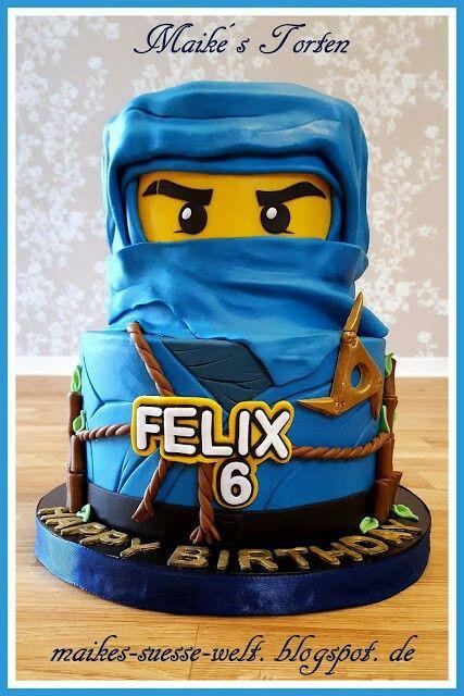 blaue Lego Ninjago Torte  blue cake boys  Ninjago