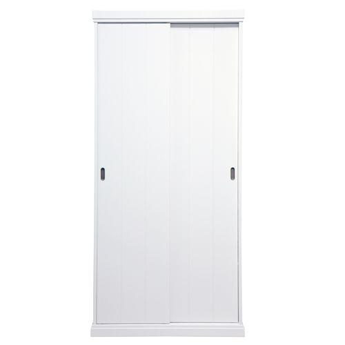 Armoire en pin blanchi 4 étagères 2 portes coulissantes Chambre - Armoire Ikea Porte Coulissante