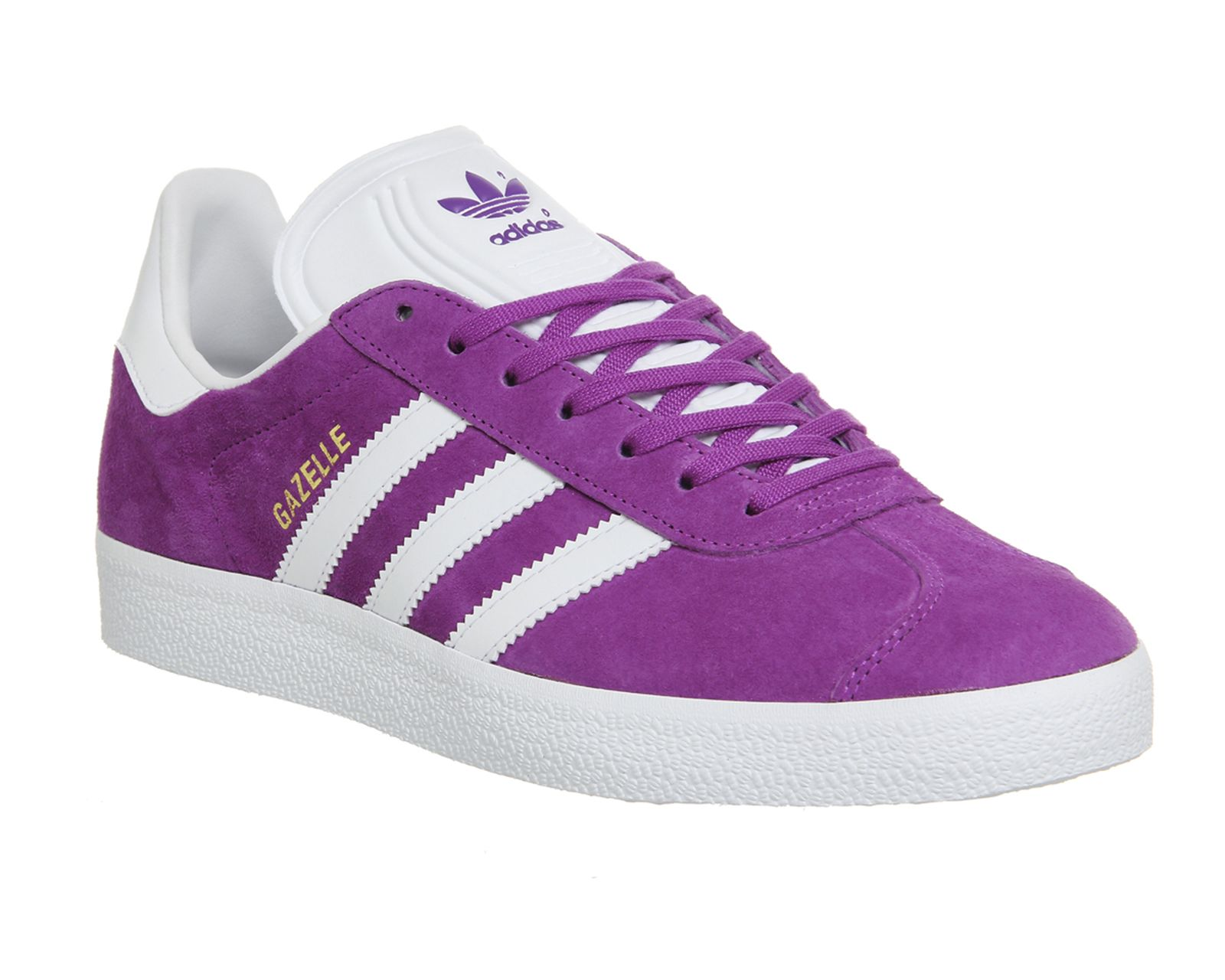 Buy Shock Purple White Gold Metallic Adidas Gazelle from OFFICE.co.uk. Mens  Leather ShoesMen\u0027s ...