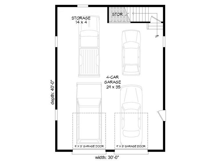 1st Floor Plan 062g 0088 Garage Plans Tandem Garage Garage Plan