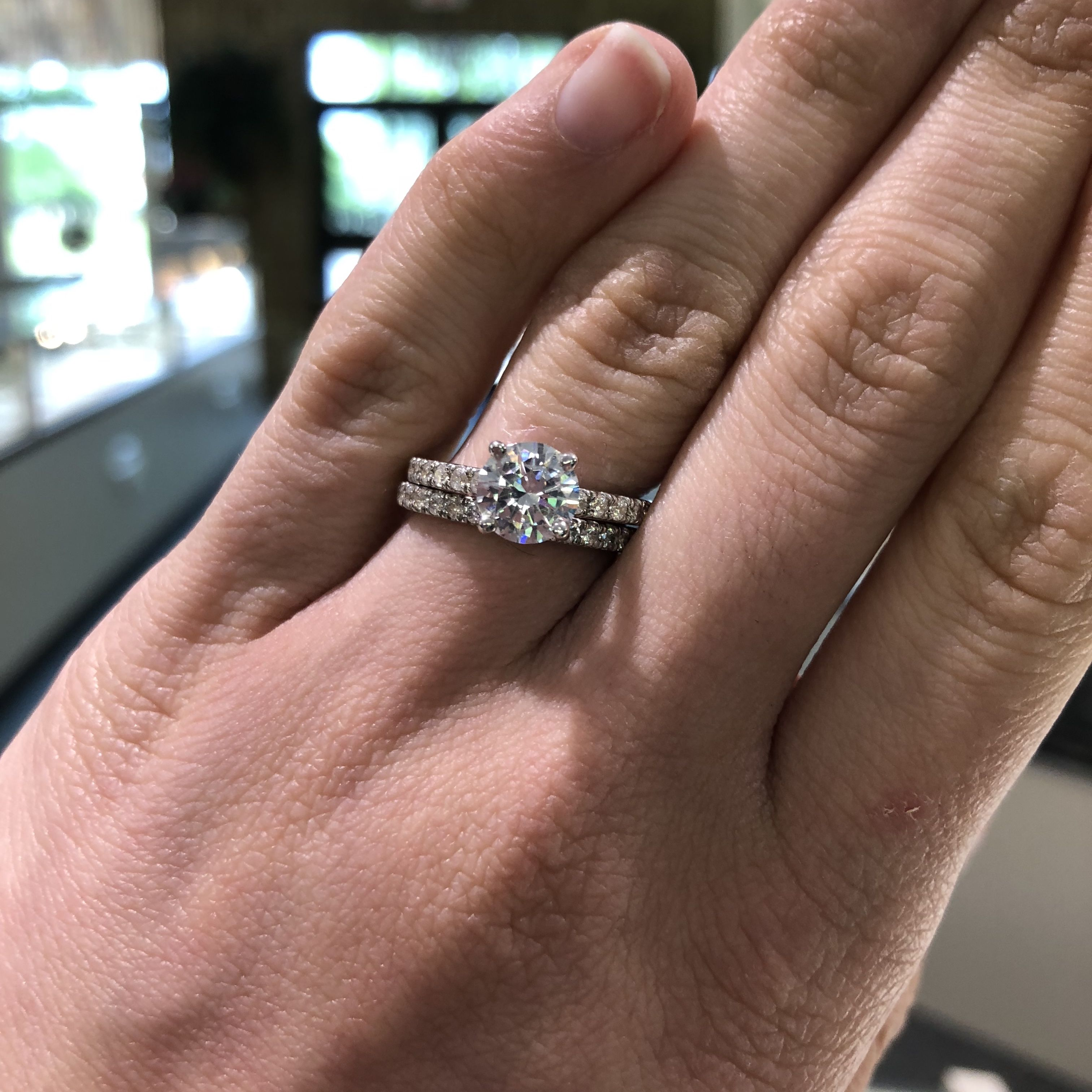 14k White Gold Classic Diamond Accent Wedding Set The Engagement Ring Holds A 1ct Round Diamond Accent Engagement Rings Diamond Wedding Sets Engagement Rings