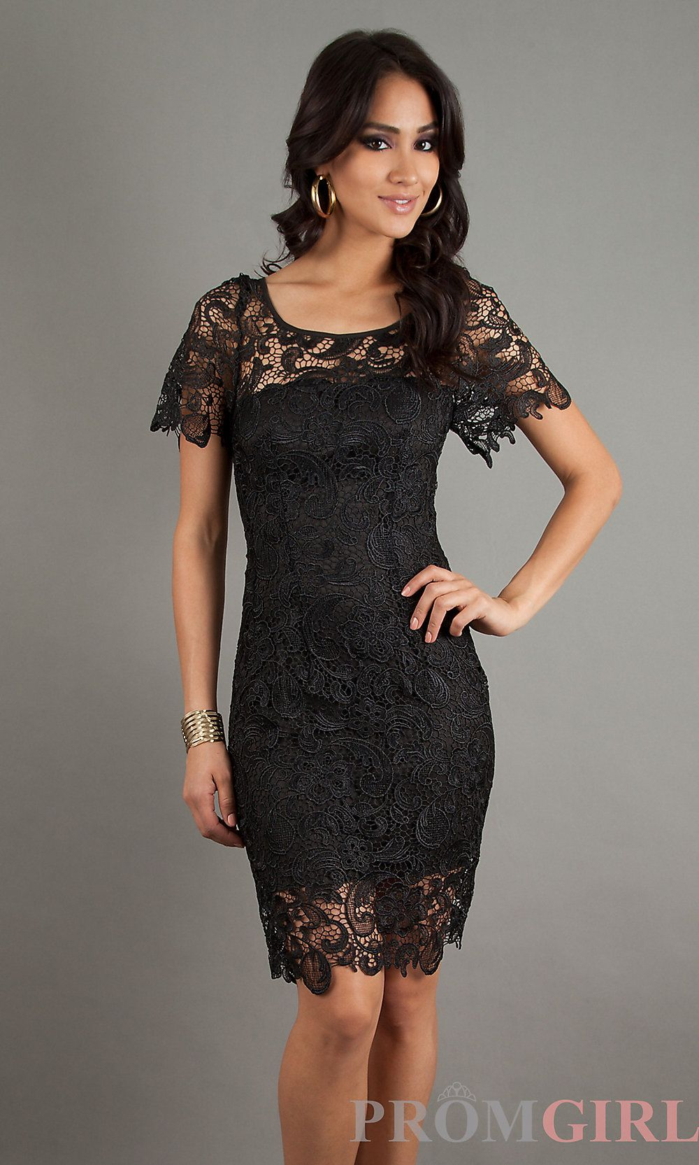 Lace Dresses, Black Cocktail Dresses with Short Sleeves- PromGirl ...