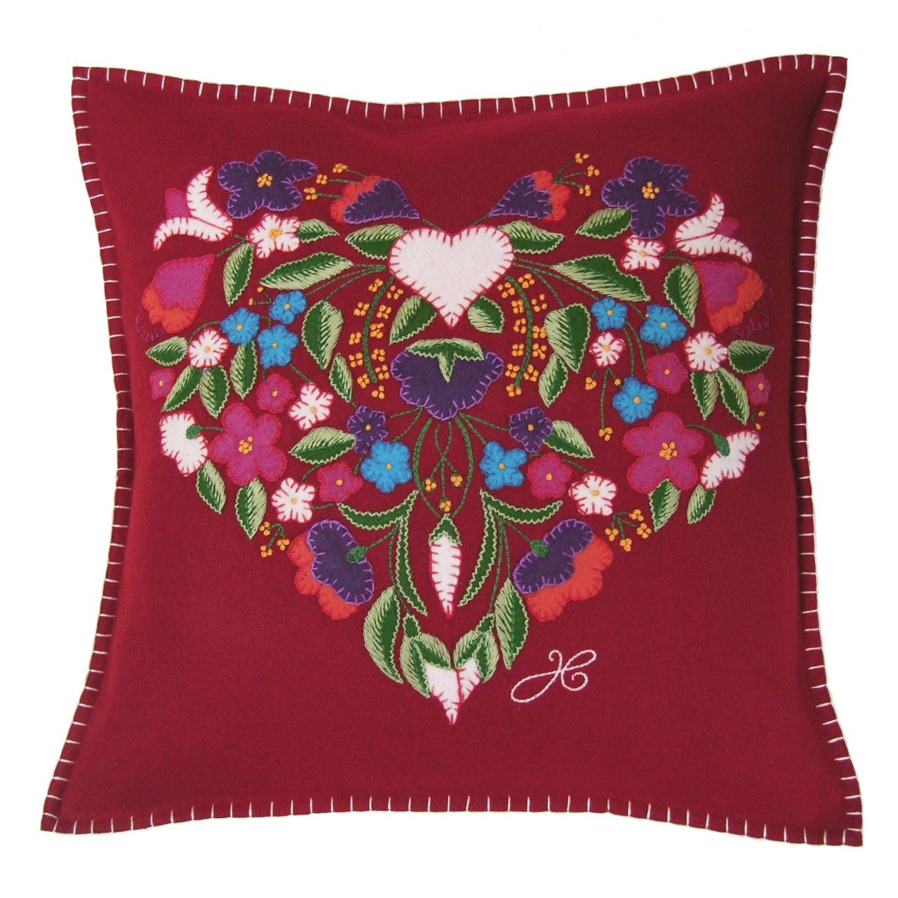 beautiful gypsy inspired applique and embroidered cushion