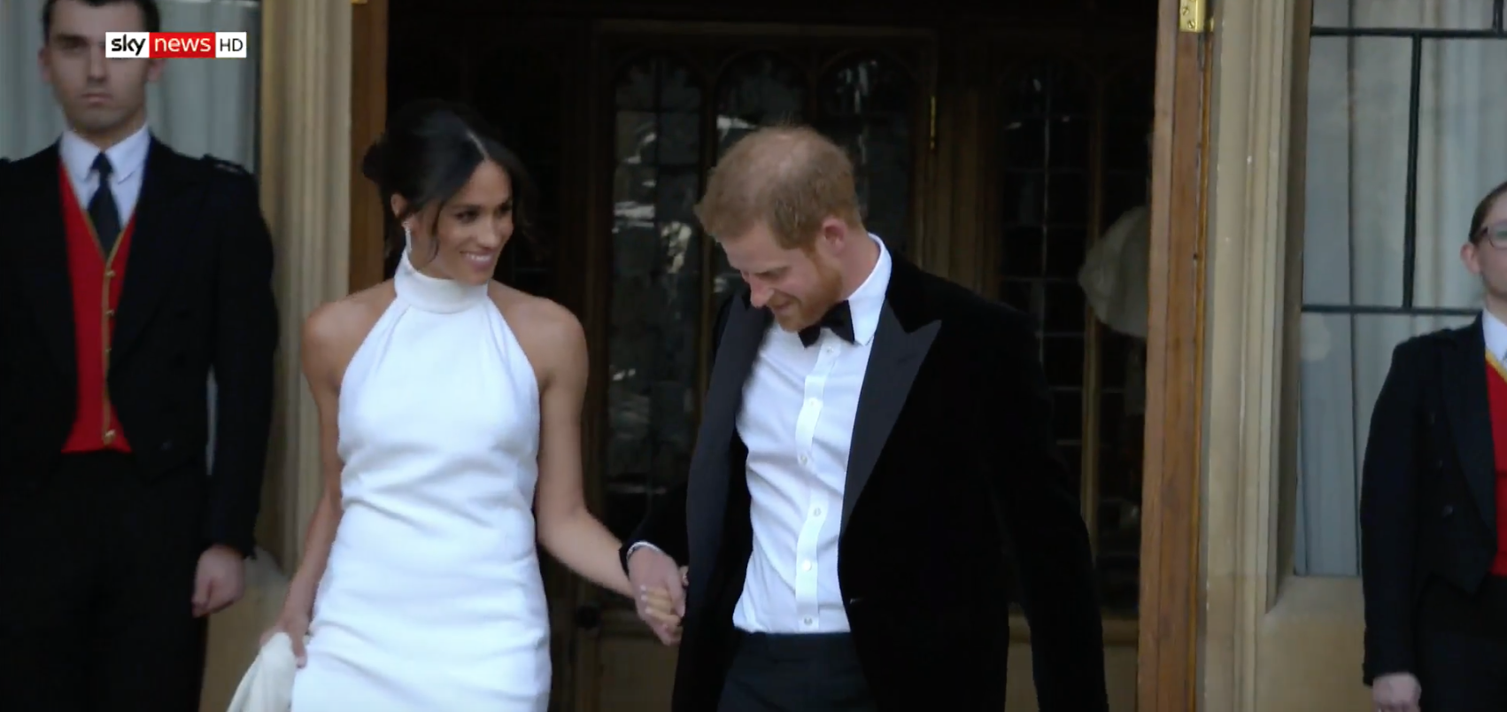 4e2959efb94 Meghan Markle changes into a daring Stella McCartney dress for her evening  wedding reception
