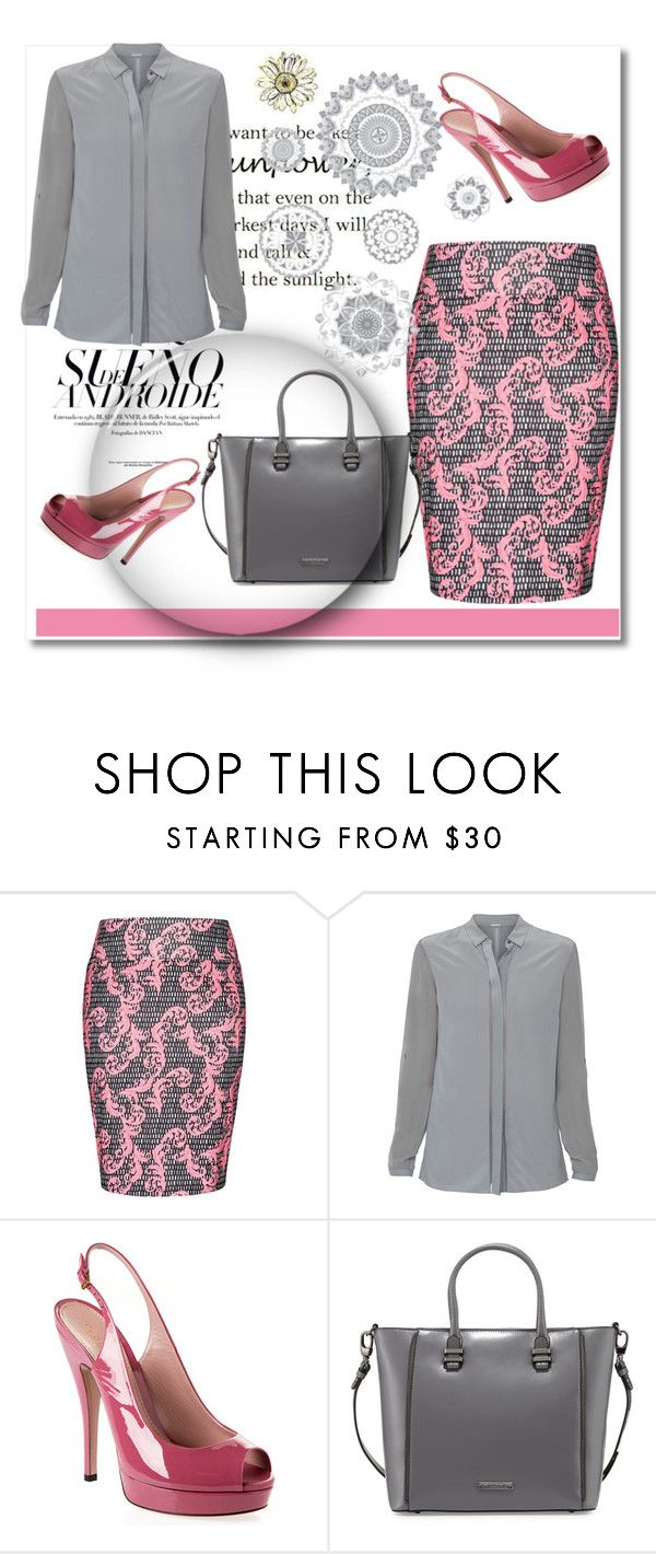"""Lovely pink"" by alina-only21 ❤ liked on Polyvore featuring City Chic, Elie Tahari, Gucci, Charles Jourdan, WallPops, women's clothing, women, female, woman and misses"