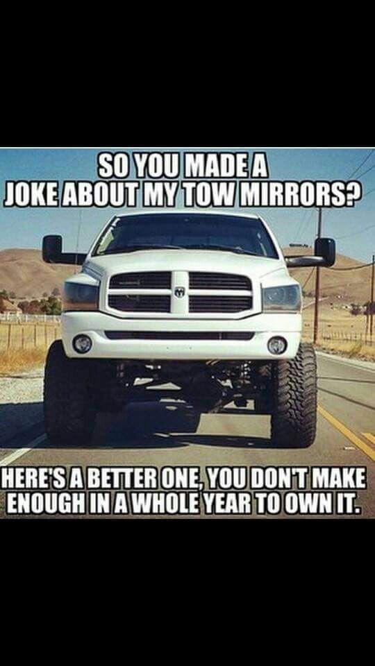 Dodge Tow Mirrors Ford Jokes Truck Memes Jeep Memes