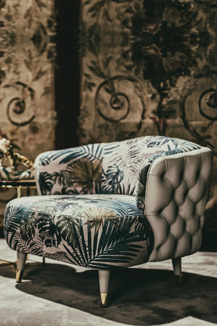 Timeless Sessel Leather Button Upholstered Designer Botanical Print Tub Chair In