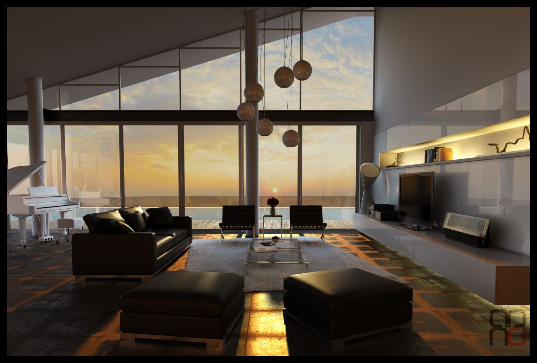3ds max sunset render interior interiors living room - Interior design models for living room ...