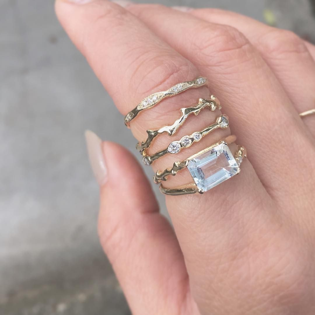 Simple stack [Top to bottom: Wave Eternity Ring, Fire Coral Ring ...