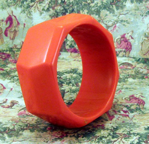 Vintage Pumpkin Orange Bangle Bracelet Chunky by neyneystreasures, $8.00