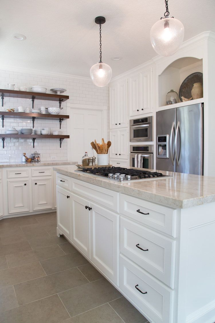 10 Wonderful White Kitchens | Honey oak cabinets, Kitchen living and ...