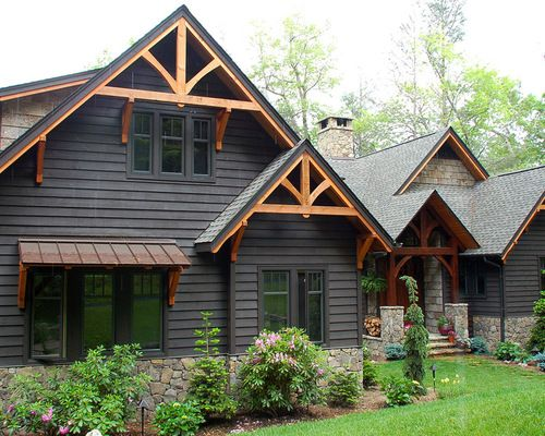 Dark Siding With Cedar Accents Outside Black House Exterior