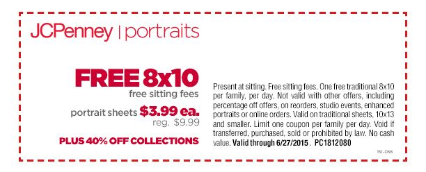 free 8x10 free sitting fees 3 99 sheets and 40 off collections