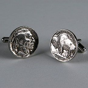 Buffalo Nickel Cufflinks, Made With Actual Buffalo Nickels   Pretty Cool  Gift For History People