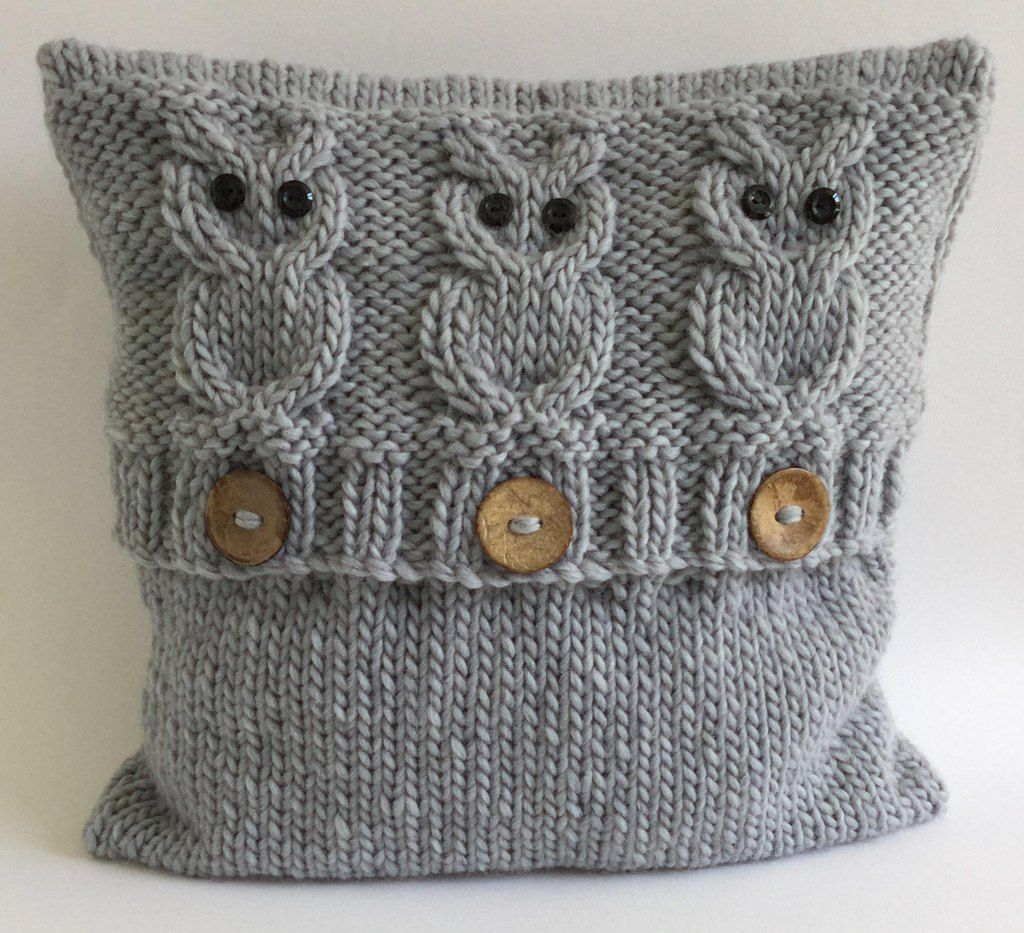 3 Wise Owls Cushion Cover Knitting pattern by The