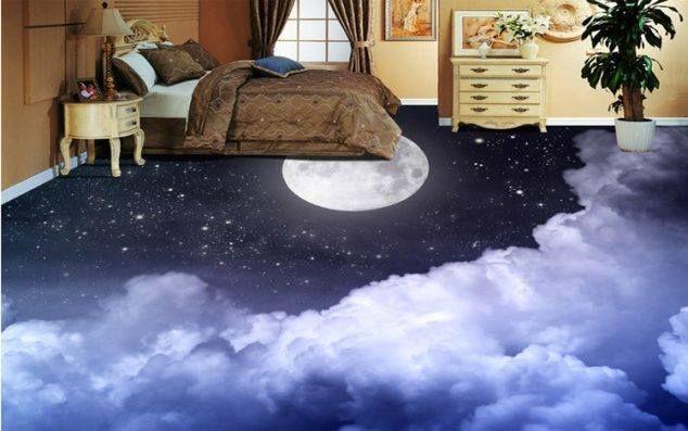 3d Moon Art Floor Painting Bed Room Design Moonartpainting Theghaziattack Jimmyfallon 3d Floor Painting 3d Flooring Ceramic Floor Tile