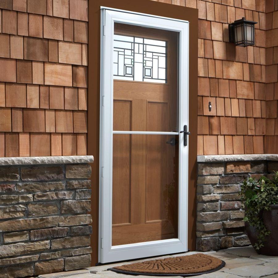 Andersen 36 X 80 Contemporary Single Vent Storm Door Color White Hardware Oil Rubbed Bronze Andersen Storm Doors Wood Storm Doors Storm Door