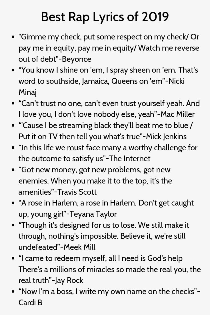 Greatest Rap Lyrics Of 2019 In 2020 Instagram Captions Rap Best Rap Lyrics Rap Lyrics