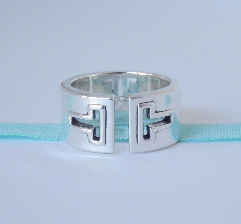 979820672 Tiffany & Co Size 6 Silver Wide Cutout T Ring Band with Pouch Beautiful! # TiffanyCo #Band