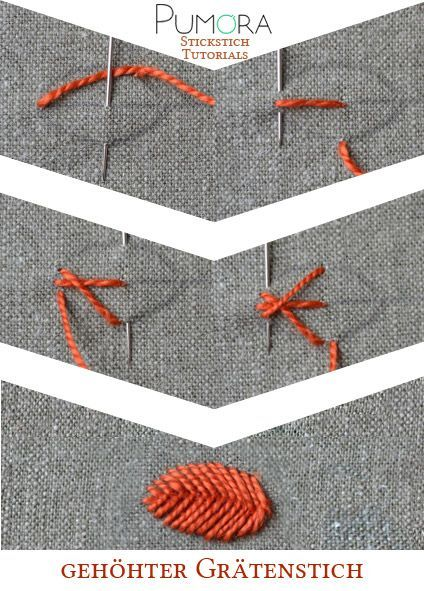 Pumora's Lexikon der Stickstiche: der gehöhte Grätenstich #crochetstitchestutorial