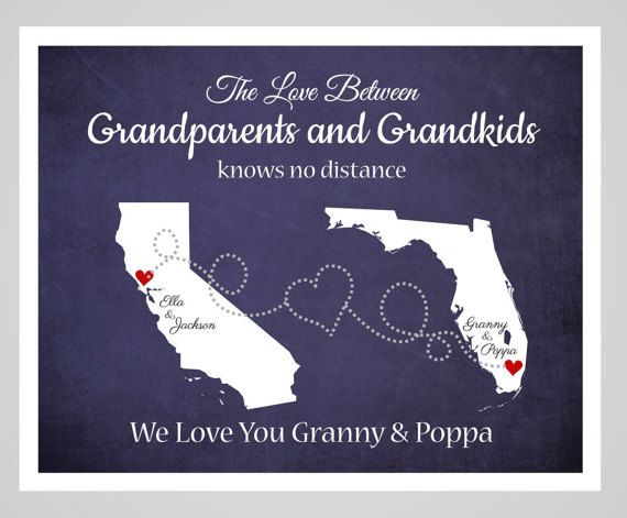 Grandma and Grandpa State Art Long Distance by DarmellaGraphics