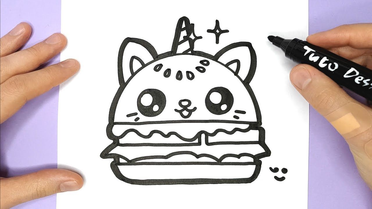 Comment Dessiner Et Colorier Un Hamburger Chat Licorne Kawaii