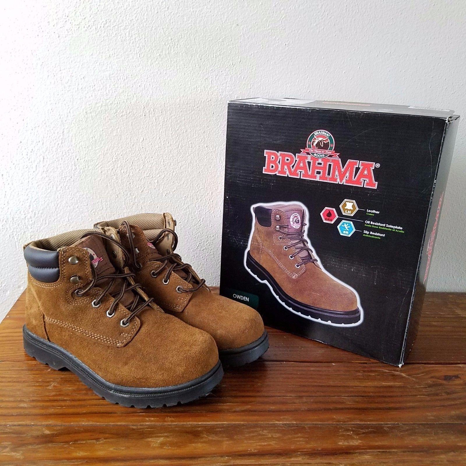 17d7c0454e7 Details about NIB Unisex Brown BRAHMA Owden Leather Work Boots MEN ...